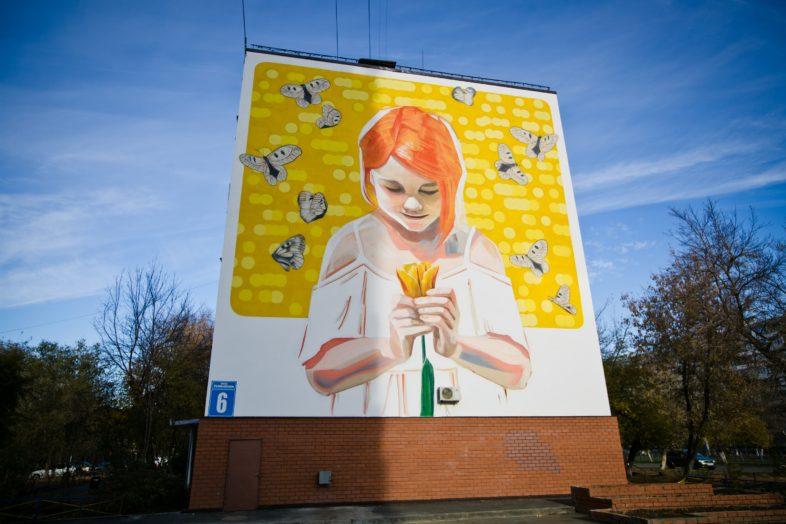 Огромная картина на стене жилого дома Оренбурга завершена