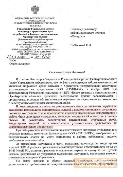 """В Оренбурге в тортах кондитерской """"Грильяж"""" найдены сальмонеллы"""