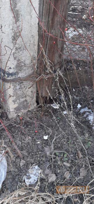 В Оренбурге заваливающийся столб не хотят ремонтировать