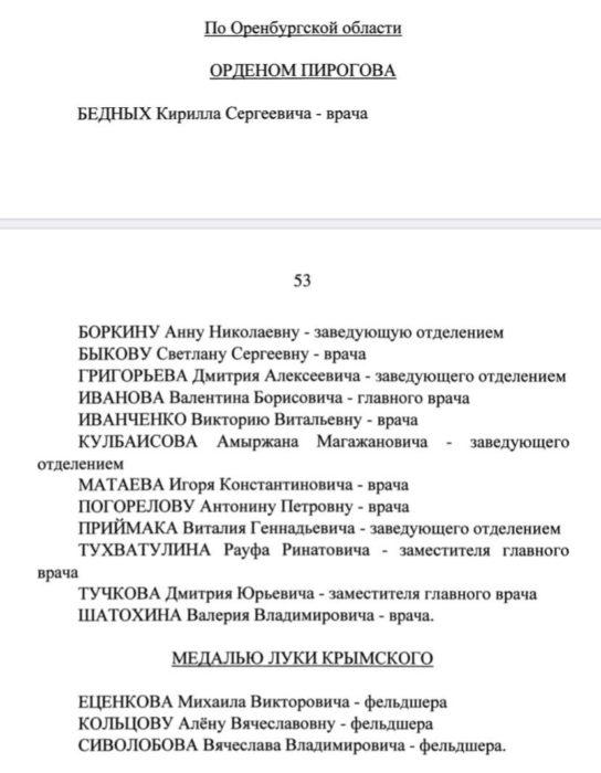 Медали и ордена получили 16 медиков Оренбургской области