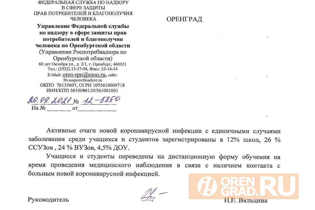 Очаги коронавирусной инфекции зафиксированы в 100 школах Оренбургской области